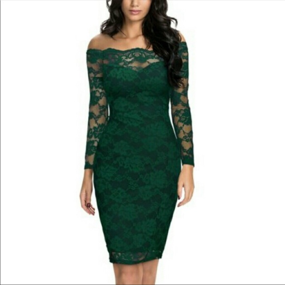 35c2d52df52 Emerald Green Lace Cocktail New Dress